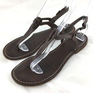 Frye Carson T strap sandal brown flat ankle strap